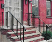 Railing with collars & scroll terminations