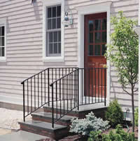 Painted steel entrance railing