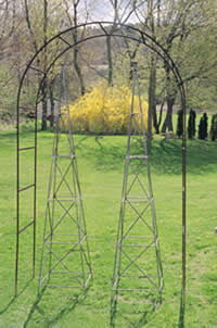 Arbor with obelisks